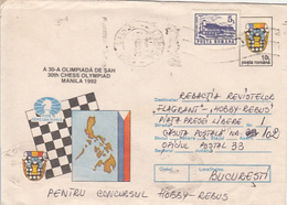 GAMES, CHESS, ECHECS, MANILA OLYMPIAD, NICE STAMP, COVER STATIONERY, ENTIER POSTAL, 1993, ROMANIA - Scacchi