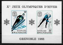 RWANDA  BF 10a * *  NON DENTELE ( Cote 27.50e ) Jo 1968 Patinage De Vitesse Saut A Ski - Winter 1968: Grenoble