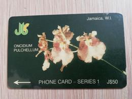JAMAICA  J$50,-  GPT CARD  ONCIDIUM PULCHELLUM   CONTROL NR: 1JAMD   Fine Used Card  **3225** - Giamaica
