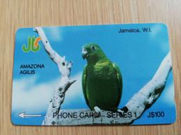JAMAICA  J$100,-  GPT CARD  AMAZONA AGILIS PARROT    CONTROL NR: 1JAME   Fine Used Card  **3226** - Giamaica