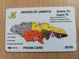 JAMAICA  J$100-  GPT CARD   HEROES OF JAMAICA  CONTROL NR: 9JAMB   Fine Used Card  **3229** - Giamaica