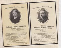 20A1251 IMAGE PIEUSE MORTUAIRE MR ET MME JOSEPH JOLLIVET ETRELLES 1949 Lot De 2 - Images Religieuses