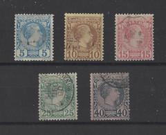 MONACO.  YT   N° 3-4-5-6-7  Obl  1885 - Monaco