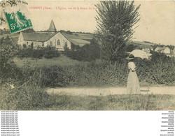 WW 27 GIVERNY. L'Eglise Et Femme Sur La Route Du Bas - Francia