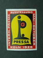 Vignette Reklamemarke Cinderella Presse Press Pressa Ausstellung Exhibition Köln Cologne 1928 - Erinnofilia