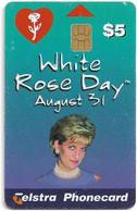 Australia - Telstra (Chip) - P Series 1997 - White Rose Day (Princess Diana) - Exp. 10.2001, 5$, 20.000ex, Used - Australie