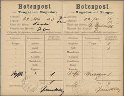 """Deutsche Post In Marokko - Besonderheiten: 1902/1903, Zwei Gebrauchte Botenpost-Formulare """"SAFFI Nac - Bureau: Maroc"""