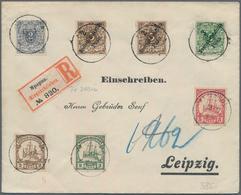 Deutsche Kolonien: 1900/1908, Lot Von Fünf Philatelistischen Belegen (die Teils Fragen Aufwerfen), D - Allemagne