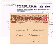 ENVELOPPE ET CONTENU  A EN-TETE SYNDICAT GENERAL DU LIVRE DE LA REGION PARISIENNE - 1921-1960: Modern Tijdperk