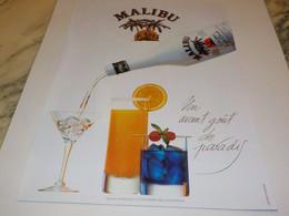 ANCIENNE  PUBLICITE GOUT DU PARADIS MALIBU  1984 - Alcohols