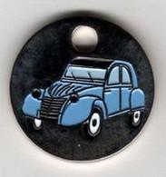 Jeton  De  Caddie  Argenté  Automobile  CITROËN  2 CV  Bleu  Clair De  Face  Verso  1 € - Trolley Token/Shopping Trolley Chip