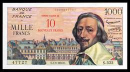 1000F Richelieu  SURCHARGE 10NF - 07.03.57 - SUP - Fay : 53.1 - 1955-1959 Overprinted With ''Nouveaux Francs''