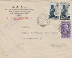 LETTERA 1938 2X1+50 AFRICA ORIENTALE TIMBRO MOGADISCIO SOMALIA ITALIANA BOLOGNA (KP113 - Africa Oriental Italiana