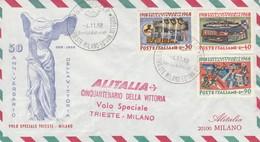 BUSTA 1963 ALITALIA VOLO SPECIALE MILANO TRIESTE CINQUANTENARIO VITTORIA (KP141 - 1961-70: Marcophilie