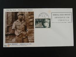 Lettre FDC Cover Général Diego Brosset Flamme Concordante Rillieux 69 Rhone 1971 - Guerre Mondiale (Seconde)