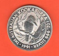 Australia Kookaburra 1991 - 5 Dollari Dollars Silver Coin Oncia Onze Ounce - Decimal Coinage (1966-...)