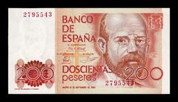 España Spain 200 Pesetas L. Alas Clarín 1980 Pick 156 Sin Serie SC UNC - [ 4] 1975-… : Juan Carlos I