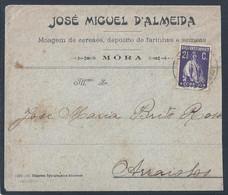 Carta Da Moagem De Cereais De Móra, Évora. Alentejo. José Miguel D'Almeida. Stamp 2 1/2c Ceres De 1916.. Semeas. Moagem. - 1910-... République