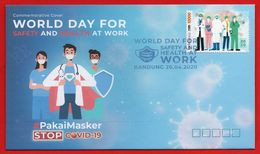 PANDEMIC GLOBAL 2020 FDC WORLD DAY FOR SAFETY & HEALTH - FIGHT THE VIRUS STAMPS-COVID-19.LIMITED EDITIONS - Indonesia