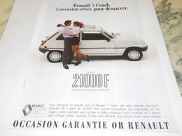ANCIENNE PUBLICITE AUTOMOBILE RENAULT R 5  COACH 1982 - Voitures