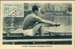 58580 France, Maximum 1953 Rudern,  Rowing,  Aviron,  Yvert 964 - Rudersport
