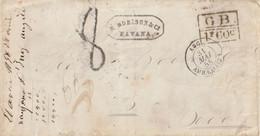 1858 - Enveloppe De LONDRES Pour BORDEAUX Entrée CALAIS Taxe 8 Tampon + Différents Cachets Au Dos. - 1849-1876: Klassik
