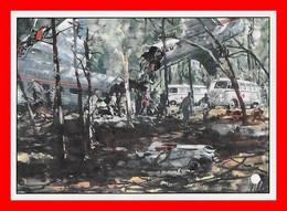 CPSM/gf  Automobile.  WOLHSWAGEN.  Combi, Ambulance Sur Accident D'avion. Illustrateur...L504 - Turismo
