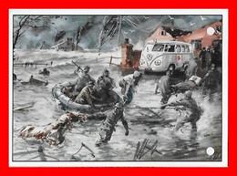 CPSM/gf  Automobile.  WOLHSWAGEN.  Combi, Ambulance Pour Secours Inondation. Illustrateur...L505 - Turismo