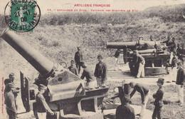 MILITARIA. .CPA. ARTILLERIE DE COTE. BATTERIE DES MORTIERS DE 270. ANNEE 1908 + TEXTE - Matériel
