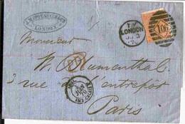 1870 Lettre London 1V Timbre 4p. (YT N°32) Oblitéré 106 Pour Paris Via Amb Calais - Briefe U. Dokumente