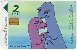 LATVIA A-103 Magnetic Lattelkom - Cartoon, Prehistoric Animals, Dinosaur - Used - Latvia