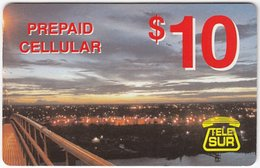 SURINAME A-005 Prepaid TeleSur - View, Town By Night - Used - Surinam