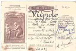 CARTE D'IDENTITE N°20039 Adoptée Comme Pupille De La Nation Le 28.1.1941- - Documents