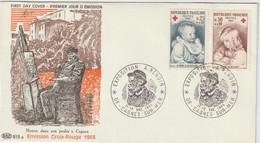 FDC FRANCE N°Yvert 1466-1467 (CROIX ROUGE - RENOIR)  Obl Sp Ill 1er Jour Cagnes Sur Mer - 1960-1969
