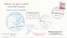 """TAAF-Martin De Vivies-St Paul-AMS: Lettre """"Marion-Dufresne"""" Avec N°2952 Camargue - Cachet 1er Toucher Du 22/08/95 - Cartas"""