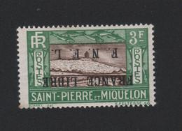 Faux Curiositée 3 F Surcharge A L'envers Saint-Pierre Et Miquelon Gomme Charnière - Ungebraucht