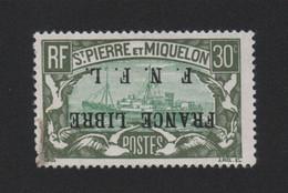 Faux Curiositée 30 C Surcharge A L'envers Saint-Pierre Et Miquelon Gomme Charnière - Ungebraucht