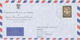 Austria Air Mail Cover Sent To Denmark 11-8-1987 (from Embajada Del Ecuador En Austria) - Luftpost