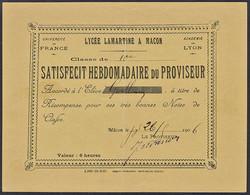 Satisfecit Hebdomadaire Du Proviseur - Lycée Lamartine Mâcon - 1906 - Diploma & School Reports