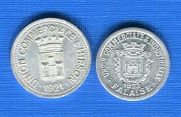 2  JETONS 1922  Falaise + Hirson - Monetary / Of Necessity