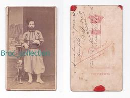 Photo Cdv D'un Militaire, Tirailleur Algérien, 3e Turcos, André, Camp D'Aïn-ben-?, 3/08/1881 - Guerre, Militaire