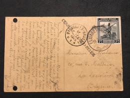 OBP 265 Sur Carte Postale Elisabethville - La Louviere - Griffe CENSURE CONGO-BELGE [S] - Congo Belge