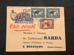 OBP 177, 178A Sur Lettre AVION - 6,25fr En Port - Leopoldville (Postes) - Besancon (France) [S] - Congo Belge