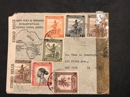 OBP 232, 258, 262, 263, 265, 245 Sur Lettre AVION - 37 Fr En Port - Elisabethville - New York - Censure Congo Belge [S] - Congo Belge