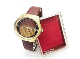 Striped Shining Dial Mens Watch USSR Poljot STADIUM Serviced! Vintage Soviet Mechanical Gold Plated Wrist Watch Flight I - Montres Anciennes
