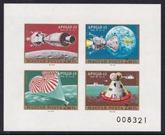 FEUILLET NEUF DE HONGRIE - APOLLO 13 : DIFFERENTES PHASES DU VOL N° Y&T PA 329 A 332 (ND) - Raumfahrt