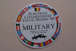 European Championship YOUNG RIDERS '88 MILITARY Zonhoven - Sticker / Zelfklever / Autocollant ( Zie Foto ) 11 Cm ! - Equitation