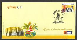 INDIA, 2014,  FDC, UTI, Unit Trust Of India,  Jabalpur Cancellation - FDC