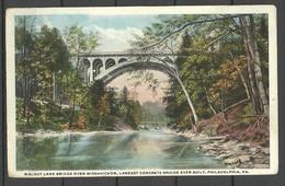 USA 1919 Largest Concrete Bridge Ever Built Walnut Lane Over Wissahickon Philadelphia Colored Post Card To Estonia - Puentes