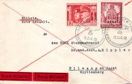 Ganzsache DR Drittes Reich Brief Umschlag NSKK Sturmzahnarzt Ellwangen Innsbruck 1941 Eilbote - Storia Postale